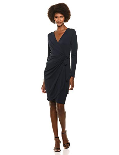 (Lark & Ro Women's Classic Long Sleeve Wrap Dress, Navy, Small)