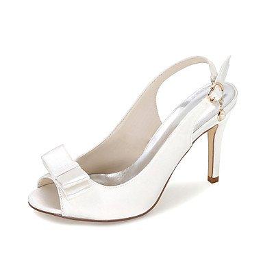 Ivory mujer la negro sandalias Por 4 3 amp;Amp; de Boda Vestido sandalias Satin Zapatos pulg 3 Verano Fiesta Otoño noche 3A Primavera C15Wq