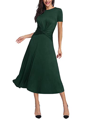 - Azalosie Women's Tummy Control Dress Round Neck Short Sleeve Midi Semiformal Casual Party Fit Flare Maxi Dress