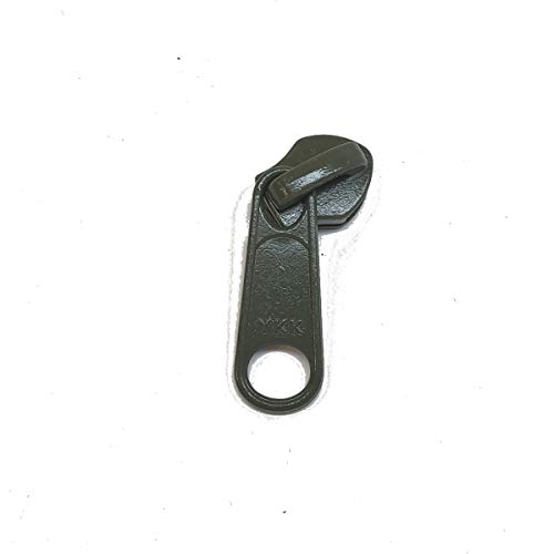 Package of Four (4) Metal Slider with Single Pull for #10 Coil YKK Zipper, Olive Drab