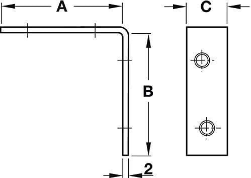25//× 16/mm /à angle droit en m/étal L Bracket dangle Brace Fixation r/éparation support Bracket X100