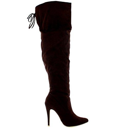 Womens Oberschenkel Plattform High Heels Stilettos Stretch Overknee Stiefel Braunes Wildleder