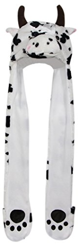 Bioterti Plush Novelty Animal Hat 3 in 1 Beanie With Long Paw Scarf, Mitten Combo (Cow) (Halloween Cow Ears)