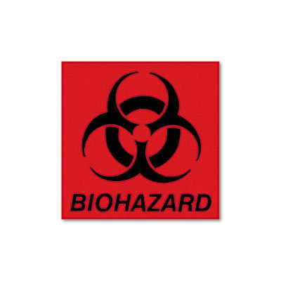 Biohazard Decal, 5-3/4 x 6, Fluorescent Red, Sold as 1 ()