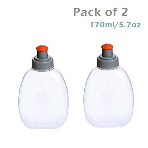 JEELAD BPA-Free Leak-Proof Running Water Bottles for Hydration Pack Vest Waist Packs - Ideal for Running Hiking Cycling - Pack of 2 (170ml (5.7oz))