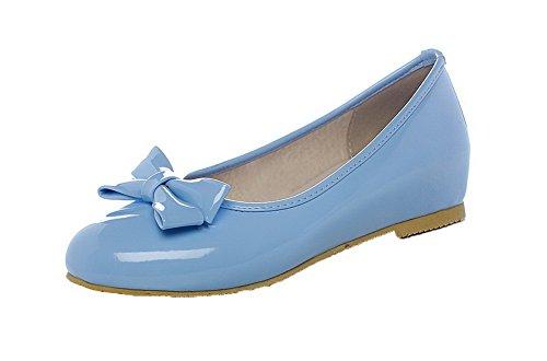 AalarDom Femme Couleur Unie Microfibre à Talon Bas Tire Rond Chaussures Légeres Bleu v4k0L95