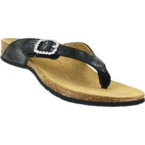 Vionic Isabeal Womens Toe-post Orthotic Sandal Black Patent Snake - 6