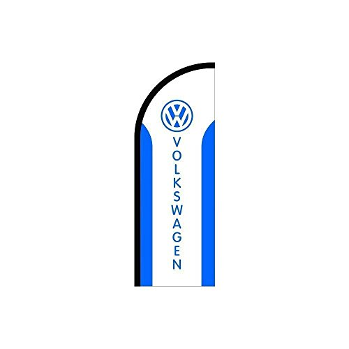 (Above All Advertising, Inc. Volkswagen Logo Sign Feather Flag Blue White, Business Advertising Flags, Pre Printed Flutter Banner Flag ONLY (11.5' Feet))