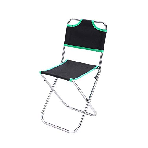 STARKWALL Outdoor Aluminum Alloy Backrest Stool Camping Folding Chair Oxford Cloth Fishing Chair Portable Beach Chair W0263 GREEN