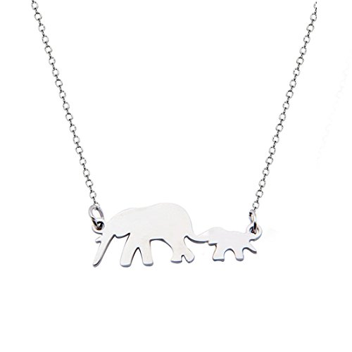 KUIYAI Lucky Family Mother and Child Elephant Necklace Mom and 1 Cub Jewelry (Silver 1 cub)