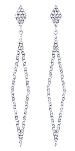 Rount Cut White Natural Open Diamond-Shaped Stiletto Dangle Earring in 14K White Gold (0.42 Ct)