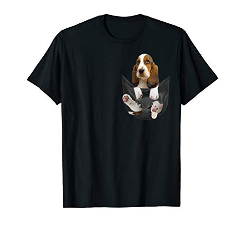 Basset-Hound Pocket Funny Mom Dad Kid Lover Gifts Men Women T-Shirt