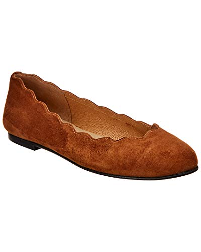 Sole French Flats Suede (French Sole Teardrop Suede Flat, 8.5, Brown)