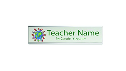 Teacher Desk Nameplates - Teacher Desk Name Plate in Color Choice of 2 Plate Holder Colors (Silver)