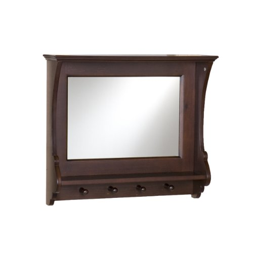 Southern Enterprises Chelmsford Entryway Wall Mount Mirror – Hanging Hooks w Accessory Shelves – Expresso Finish