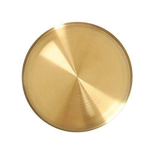 NEWCOMDIGI 1 Pcs Modern Style Round Brass Tray,Gold Decorative Tray Metal Storage Organizer Tray for Modern Home,Jewelry, Makeup,Toiletries, Kitchen Tableware,Matte Brass Finish (4.9 Inch) (Tray Gold Round)