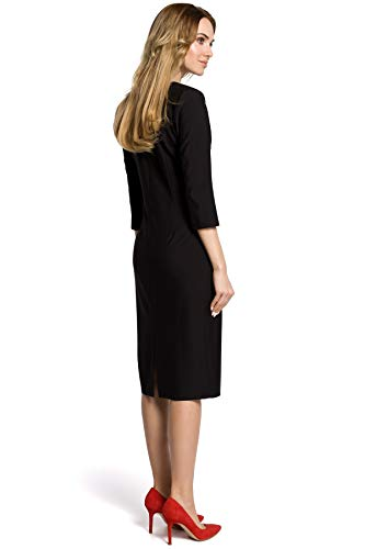 am Naht Ausschnitt in Pencil und der Falten Mitte Schwarz Kleid mit Clea RwzFqt