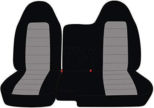 Totally Covers Fits 2004-2012 Chevy Colorado/GMC Canyon Two-Tone Truck Seat Covers (Front 60/40 Split Bench) No Armrest: Black and Gray (21 Colors) 2005 2006 2007 2008 2009 2010 2011 Chevrolet ()