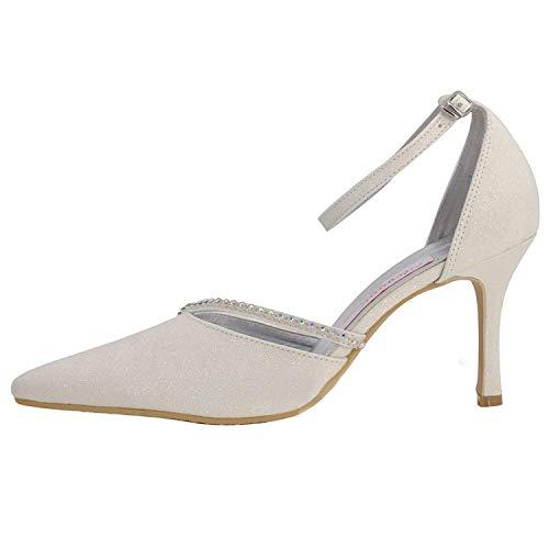 Da colore Silver Qiusa Sposa Sandali 9cm Heel Strappy Womens Flatfs 9cm Heel 7 Glitter Prom Party Uk Scarpe Dimensione Ivory Pompe Evening Gymz702 4O4vwq6z