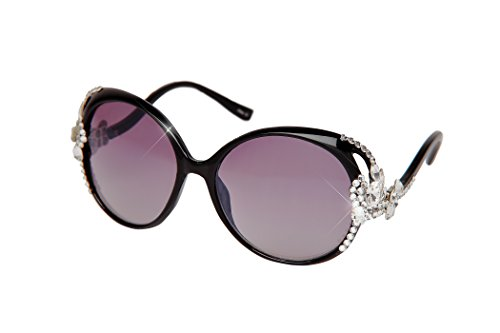 William Wang Women's Designer Sunglasses with Hand Set Swarovski Crystal Jewels (Black, - Sunglasses Prime