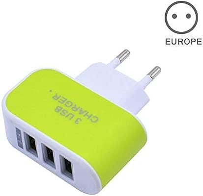 eamqrkt Cargador de Pared Estación 3 Puerto USB Portátil de Alta eficiencia CA para Viajes por teléfono móvil