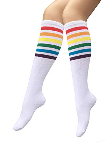 Unisex Knee High Socks Womens Girls Striped Over Calve Athletic Soccer Tube Cool Fun Party Cosplay Socks, White Rainbow,One Size 6-11 -
