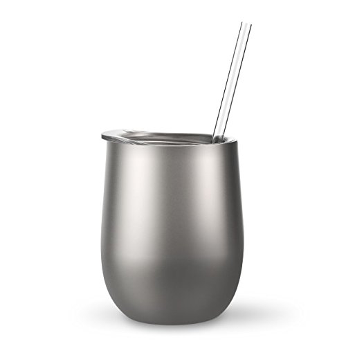 - Silver - 12 oz Stainless Steel Wine Tumbler Sippy Cup with Lid and Straw
