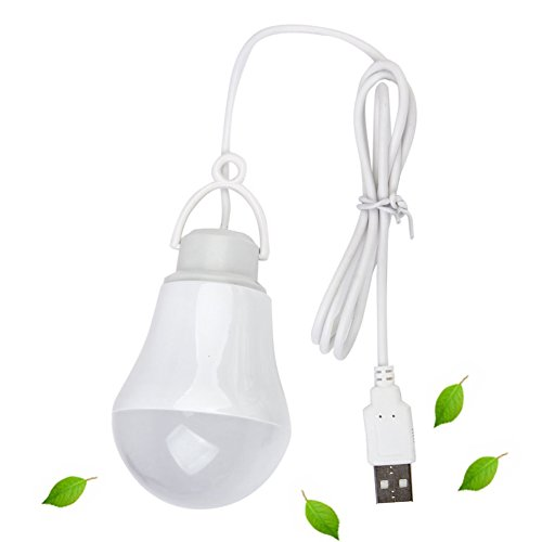 COOLEAD 5V 5W Portable LED Camping Lantern Tent Lamp USB Night Light Bulb for Hiking Fishing Backpacking Hurricane Outdoor Indoor Emergency Lights ( White )