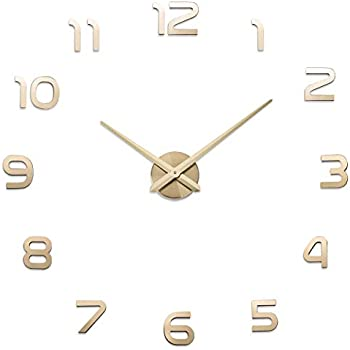 Aililife 3D DIY Wall Clock Decor Sticker Mirror Frameless Large DIY Wall Clock Kit for Home Living Room Bedroom Office Decoration (Gold)