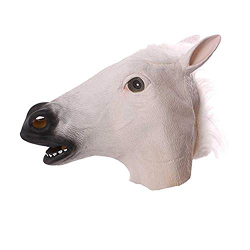 Horse Mask Halloween Horse Head Mask Latex Creepy Animal Costume Theater Prank Crazy Party Halloween Decor 330gE White ()