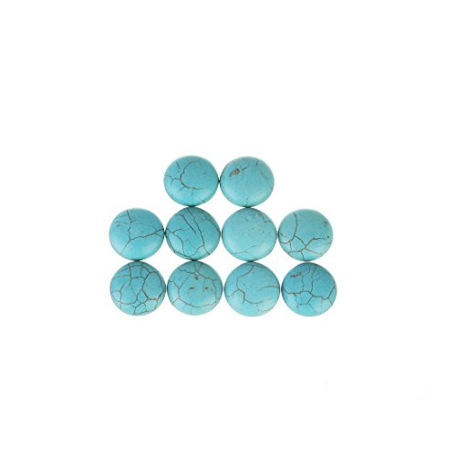 (Linsoir Beads Adorable Blue Synthetic Turquoise Stone Cabochons December Power Stone Jewelry Round Flat-Back Design No Hole Dia=18mm Pack of 10)