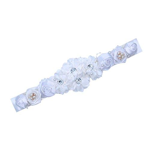 Bridal Bridesmaid Belts with Flower Satin Belt for Wedding Dresses JW60 (1-White) (Belt Beaded Silk)