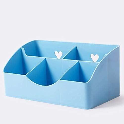 XWYSSH主催 化粧品収納ボックス5格子プラスチック製化粧品収納オフィスバッグOragnizerケース XWYSSH (色 : 青)