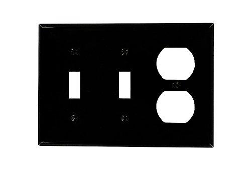 Leviton 80721-E 3-Gang 2-Toggle 1-Duplex Device Combination Wallplate, Standard Size, Black