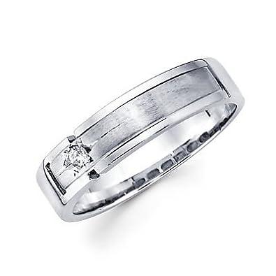 size 4 new 14k white gold mens diamond wedding ring band 05ct - Mens Diamond Wedding Rings White Gold