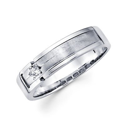 Size- 9 - New 14k White Gold Mens Diamond Wedding Ring Band .05ct (G-H Color, I1 Clarity) 0.05 Ct Real Diamond