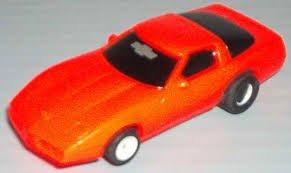 TYCO HO Scale 440x2 1984 Dayglo Corvette - red Slot Car (8951xb) - Tyco Corvette