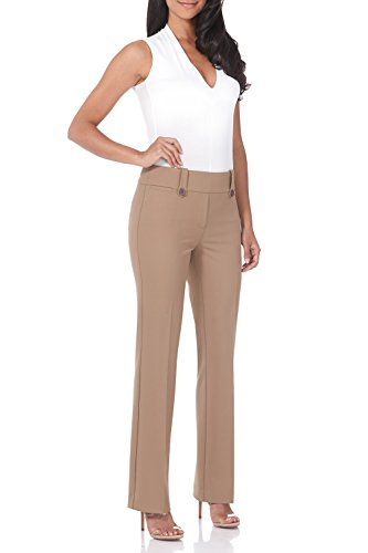 (Rekucci Women's Smart Desk to Dinner Stretch Bootcut Pant w/Tummy Control (14,Camel))