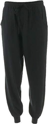 AnyBody Drawstring Cozy Knit Pocket Jogger Pants Seaming Black XS New A349792 ()