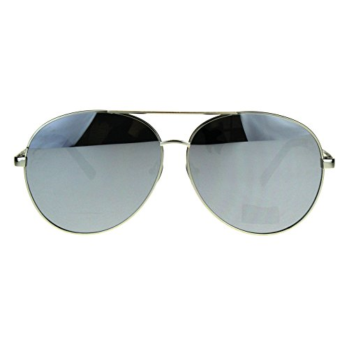 Oversize Flat Color Mirror Lens Metal Rim Officer Pilots Sunglasses Silver - Sunglasses Inch 6