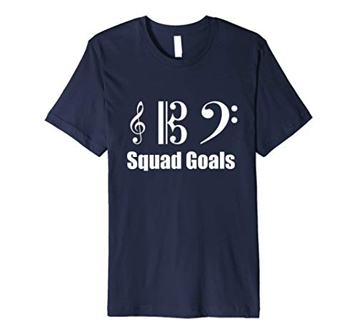 Squad Goals Treble Alto & Bass Clef | Funny T-Shirt Slim Fit (Treble Clef Bass Clef And Alto Clef)