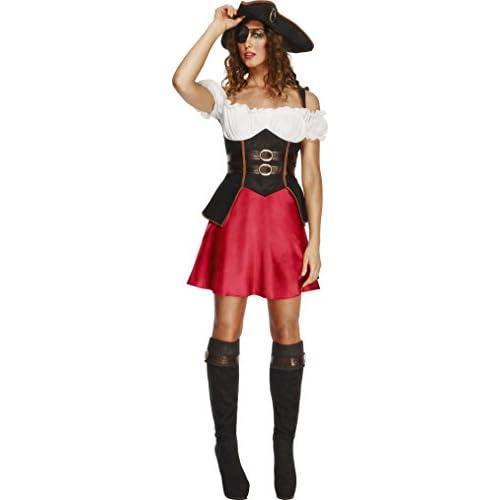 cheap Smiffys Déguisement Femme, Jeune Pirate, avec robe, jupon attaché,  chapeau et 24c54c5b02a