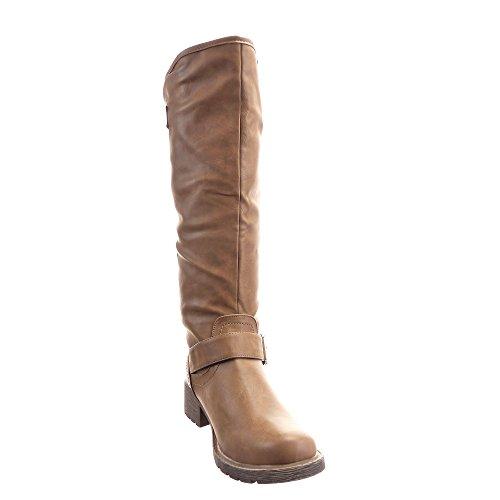 Sopily - Scarpe da Moda Stivali - Scarponi Cavalier al Ginocchio donna fibbia borchiati Tacco a blocco 4 CM - Taupe