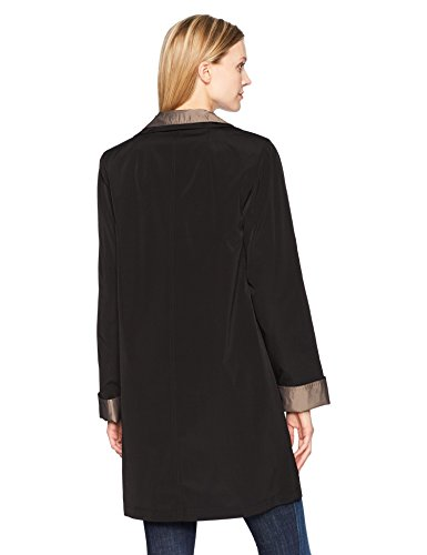 Gallery Women's 3/4 a Line Single Breasted Rain Coat, Black, Small by Gallery (Image #3)