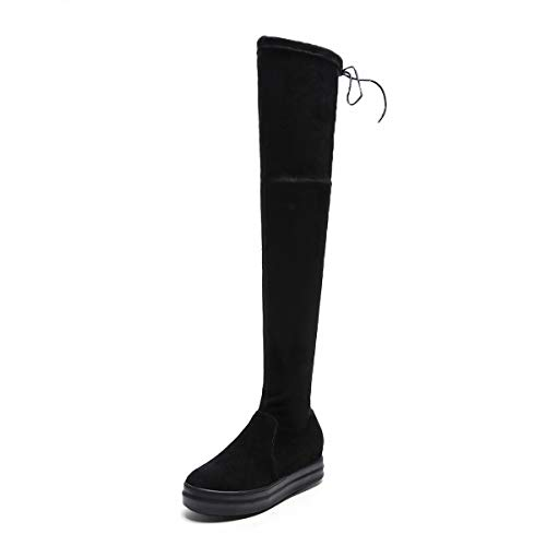 Suela Gruesas Rodilla TSNMNB Otoño Botas Cuero Botas aumentadas la Estufa de Caballero Coreana de versión Negro Invierno Mujeres Sobre de Botas de Las 38 estiradas e con 6nzrq60Y