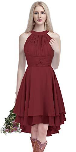 ThaliaDress Short Chiffon Halter Hi Lo Country Bridesmaid Dress Prom Gown T052LF Burgundy US14