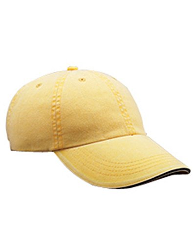 Anvil Solid Low Profile Six Panel Sandwich Trim Pigment Dyed Twill Cap, Sunshine, One Size (Cap Pigment Dyed Solid Twill)