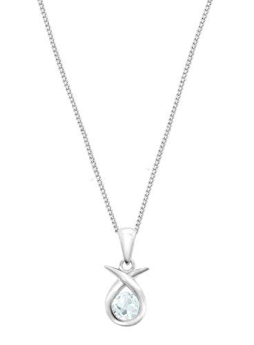 Carissima Gold - Collier avec pendentif - Croix - Femme - Or blanc (9 carats) - Aigue Marine