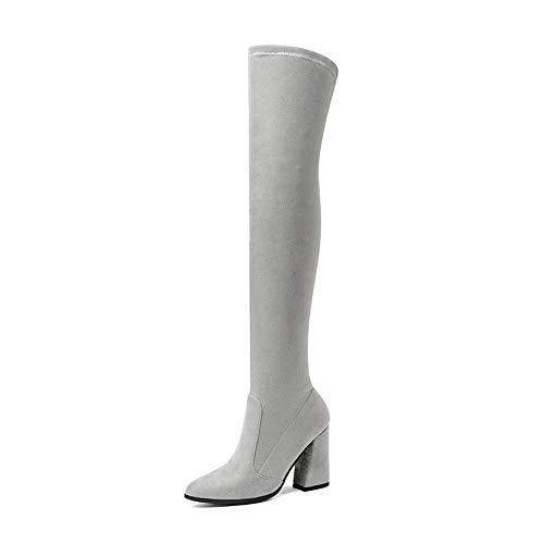 HCBYJ PU Hauts décontractées du en Chaussures Bottes hauts des Femmes Dames sur Les et Couvrent Talons de Talons d'automne d'hiver de Bottes Genou Cuir Chaussures Cuir 1n0p1x6