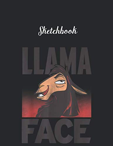 Sketchbook: Disney Emperors New Groove Kuzco Llama Face Unlined Pages Sketchbook White Paper Blank Journal with Black Cover Marble Large Size 8.5in x ... 115 pages for Kids or Men and Women Cute Cat